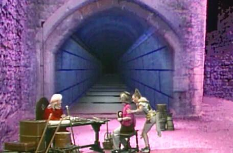 Knightmare Series 4 Quest 4. Gundrada helps Simon up after he is dismissed by Hordriss.