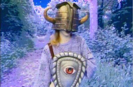 Knightmare Series 4 Quest 5. A face-on shot of Vicky in the Forest of Dun.