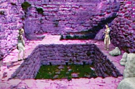 Knightmare Series 4 Quest 5. Vicky faces Gundrada across a pit.