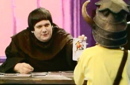 Knightmare Series 4 Quest 8. Brother Mace hands over a joker.