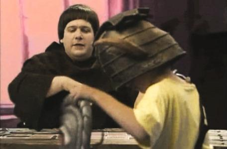Knightmare Series 4 Quest 8. Brother Mace asks Giles to lower his Eye Shield.