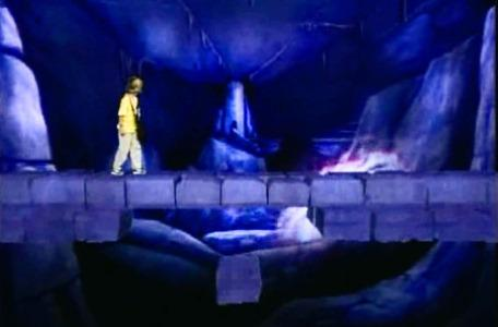 Knightmare Series 4 Quest 8. Giles runs across the bridge as it collapses.