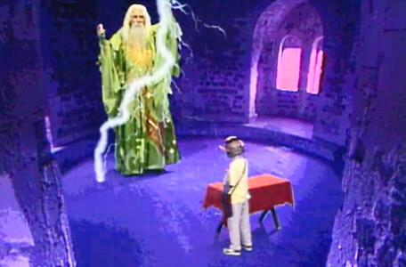 Knightmare Series 4 Quest 8. Merlin arrives in Level 3 after a summoning.