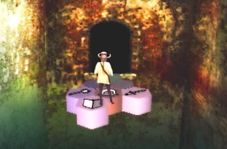 Knightmare Series 5 Team 1. Kathryn side-steps off the edge of the causeway.