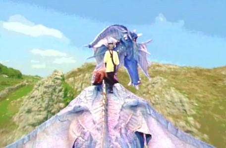 Knightmare Series 5 Team 1. Kathryn walks onto the back of Smirkenorff, the new dragon.