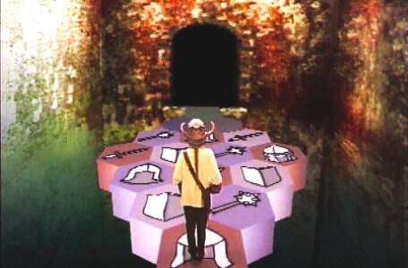 Knightmare Series 5 Team 1. Kathryn faces a causeway of tiles bearing symbols of attack and defence.