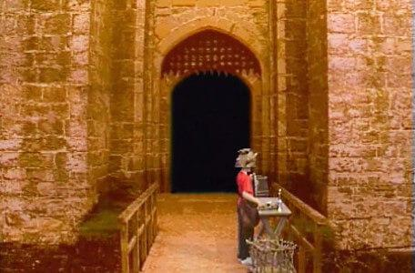 Knightmare Series 5 Team 2. Richard finds clues outside a castle entrance.