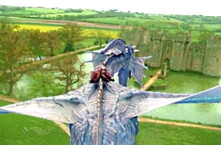 Knightmare Series 5 Team 4. Smirkenorff comes in to land at a castle.