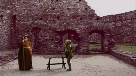 Series 5, Quest 7. Brother Mace goes to attack a goblin before realising it is dungeonner Christopher.