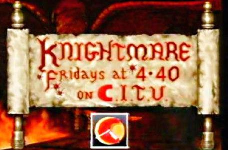 Children's ITV 1992: A scroll features the time of broadcast for Knightmare Series 6.
