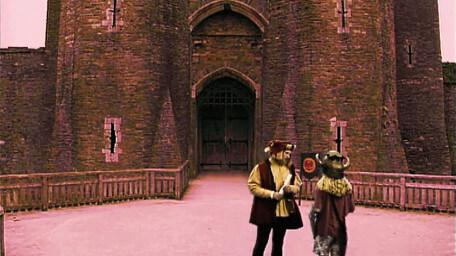 A castle courtyard, as seen in Series 6 of Knightmare (1992).