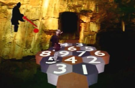 Knightmare Series 6 Team 1. Matt on a causeway of numbers, with a frightknight timer.