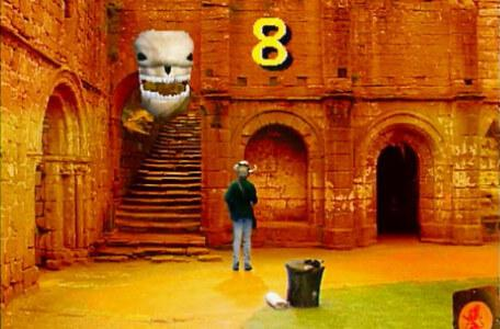 Knightmare Series 6 Team 1. Matt finds clues in a courtyard in Level 2.