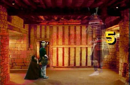 Knightmare Series 6 Team 1. Sylvester Hands cowers as Matt conjures a samurai warrior.