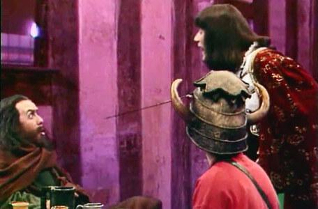 Knightmare Series 6 Team 3. Sly Hands recoils in fright as Ridolfo pokes his sabre at him.