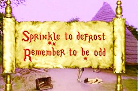 Knightmare Series 6 Team 4. A Level 1 scroll reads, 'Sprinkle to defrost. Remember to be odd'.