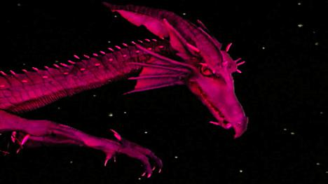 Series 6, End of Series. Lord Fear's red dragon in flight to attack Knightmare Castle.