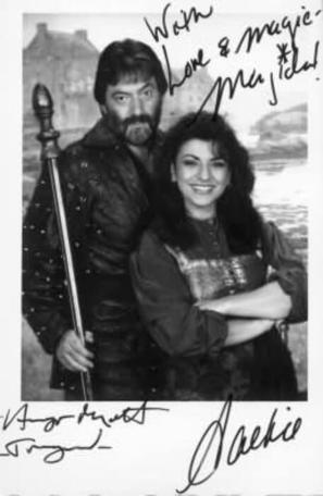 A 1993 character card of Treguard (Hugo Myatt) and Majida (Jackie Sawiris).