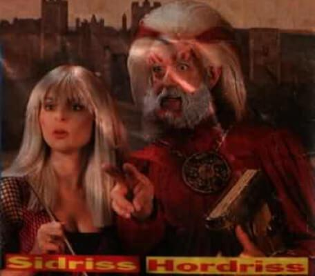 Promotional shot of Hordriss (Clifford Norgate) and Sidriss (Iona Kennedy) from Look In Magazine in 1993.