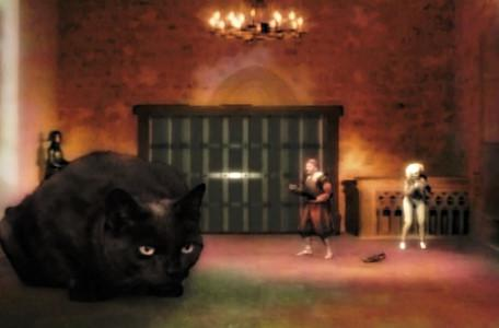Knightmare Series 7 Team 6. Julie turns into a big black cat to scare Raptor.