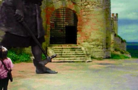 Knightmare Series 7 Team 6. Julie must pass a troll on patrol to reach the castle stairs.