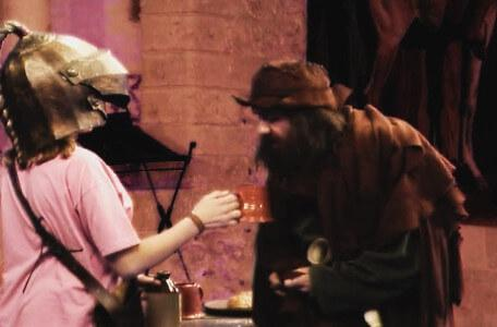 Knightmare Series 7 Team 6. Julie offers Sylvester Hands a drink.