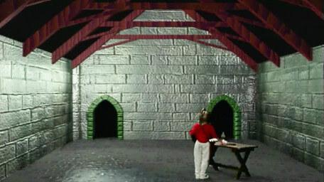 A stone room in the Black Tower of Goth, as seen in Series 7 of Knightmare (1993).