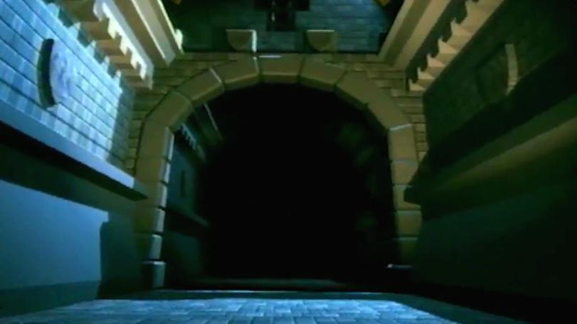 The entrance corridor of Linghorm, Lord Fear's palace in Series 8.