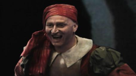 Raptor, the brigand, as played by Cliff Barry in Series 8 of Knightmare (1994).