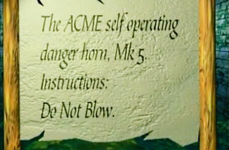 Knightmare Series 8 Team 2. A Level 1 scroll reads: The ACME self operating danger horn, Mk 5. Instructions: Do Not Blow.