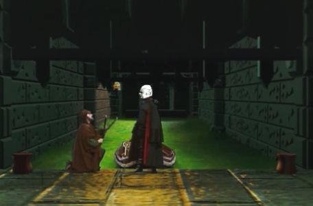 Knightmare Series 8 Team 2. Daniel turns into Lord Fear. Sylvester Hands kneels at his feet.