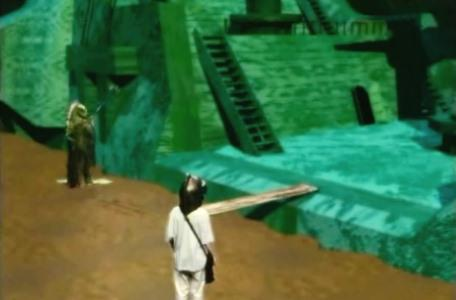 Knightmare Series 8 Team 3. Nathan on the jetty by the Golden Gallon as a mireman stands guard.