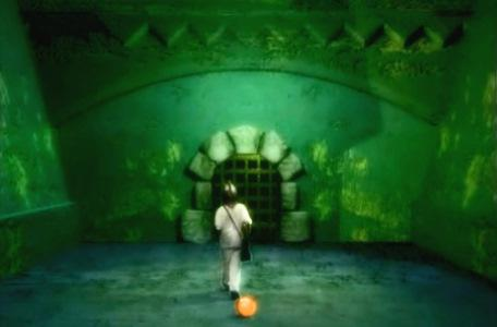Knightmare Series 8 Team 3. Nathan walks away from a glowing amber globe towards a door.