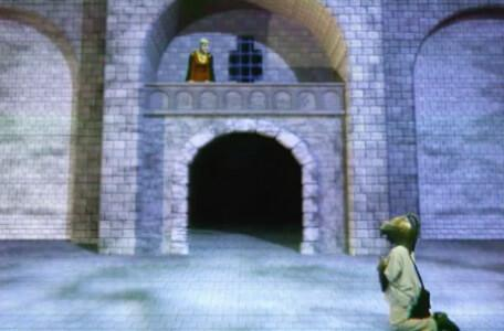 Knightmare Series 8 Team 3. Nathan kneels to appease the sorceress Maldame in Linghorm.