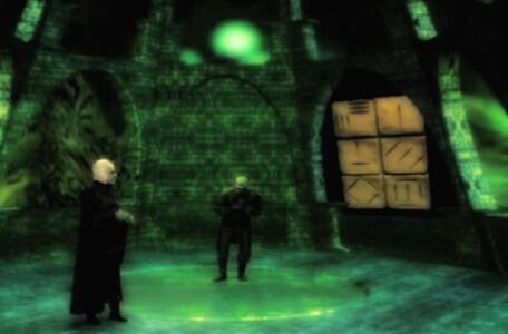 Knightmare Series 8 Team 4. Lord Fear quizzes Lissard about the rune puzzles during a spyglass scene.