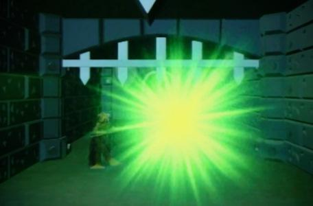 Knightmare Series 8 Team 5. A green explosion as Rebecca collides with a mireman.