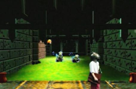Knightmare Series 8 Team 5. Rebecca turns away from the sewers as two miremen wade through.