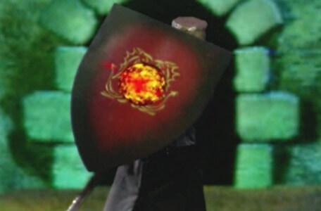 Knightmare Series 8 Team 6. The palladin holds up his shield to deflect Lord Fear's fireballs.