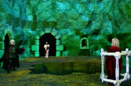 Knightmare Series 8 Team 6. Lord Fear addresses Dunstan as he stands by a pit.