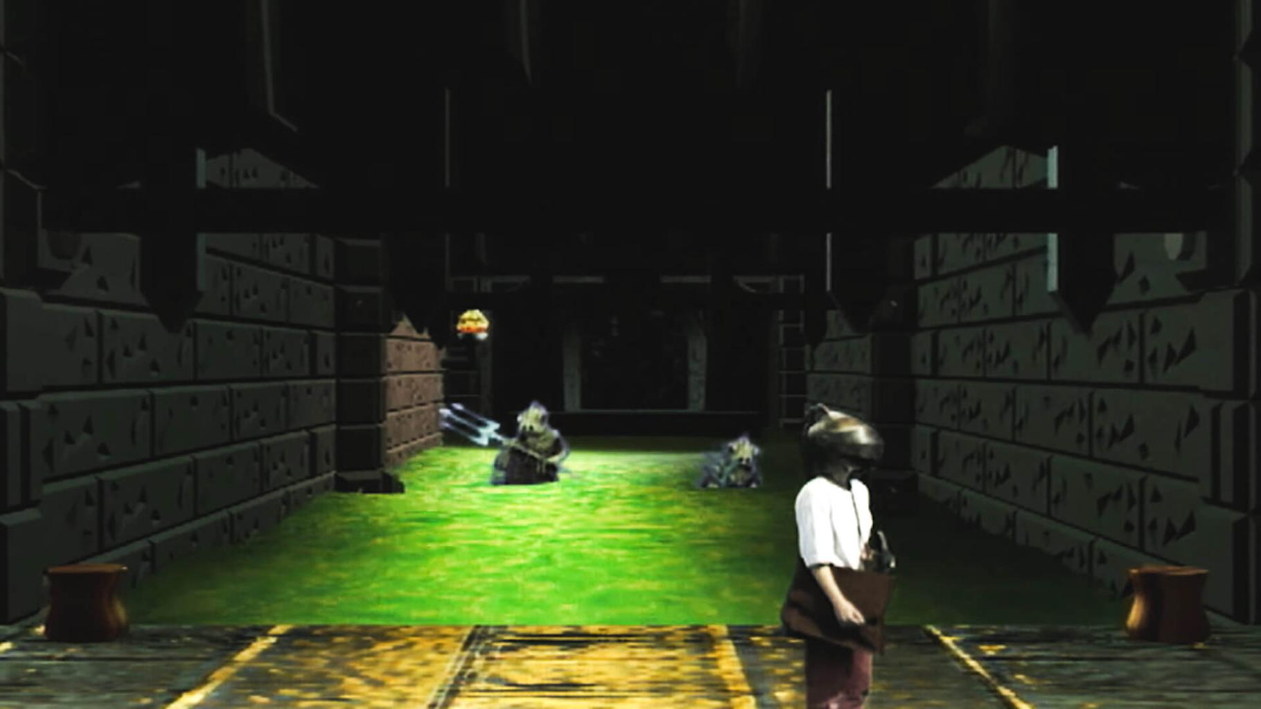 A team is pursued by miremen in the sewers. Team 5 from Series 8 of Knightmare (1994).
