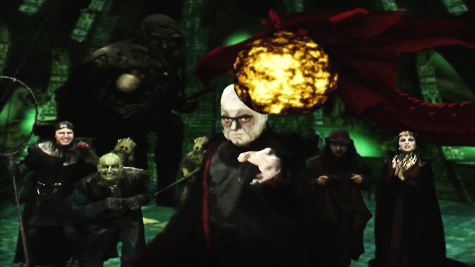 Knightmare Series 8 Opposition cast. Lord Fear throws a fireball as part of the opening sequence.
