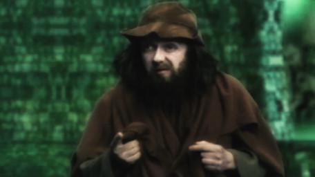 Sylvester Hands, a beggar played by Paul Valentine. As seen in Series 8 of Knightmare (1994).